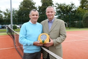 Declan Harkin, who was saved by a HeartSine defibrillator on a tennis court in Cork, Ireland, and Hugh Hennessy of HeartSine, the only manufacturer of automated defibrillators in the UK and Ireland