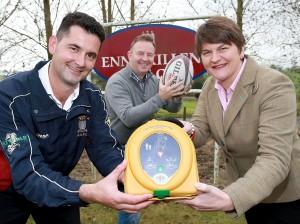 Jonathan Balfour, Ekn Rugby Club; Frank Flynn, HeartSine; Arlene Foster