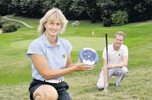 HEART: Linda Bennett and Michael Goodwin with the defibrillator at Boyce Hill – Essex's hilliest golf course. Picture by Martin Dalton