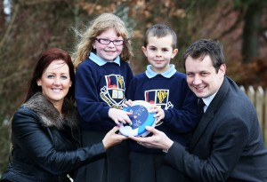Leeanne McCullough, HR Manager, Heartsine Technologies Northern Ireland, Mossley Primary School pupils Kaye Ferguson (P4) and Adam Campbell (P4) and Darren McVicker, Managing Consultant, VickerStock specialist technical engineering recruitment agency.
